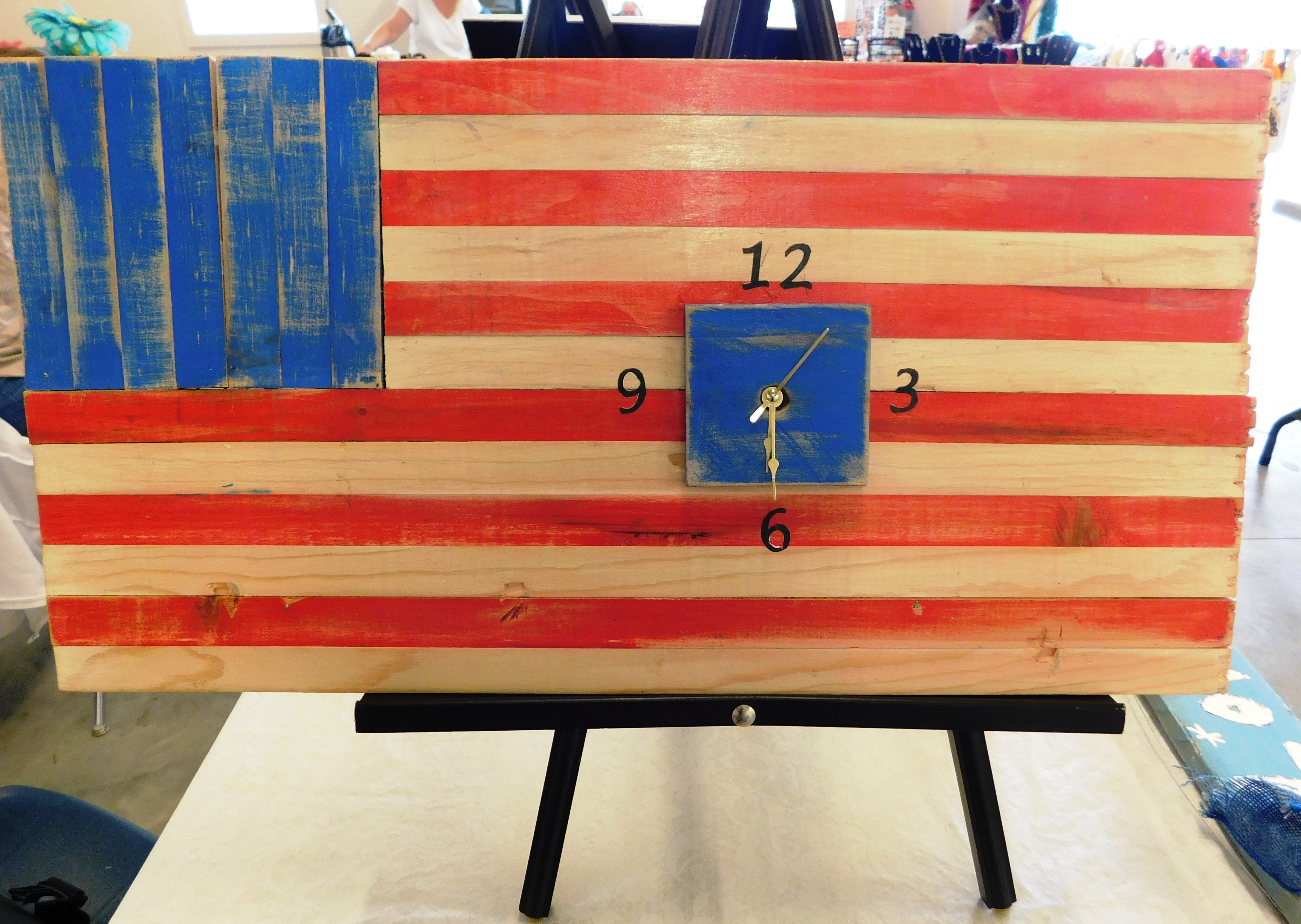 "American Flag Clock by Ervin B and Brian S 12.5""x24"" $60.00"